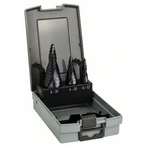 3-dílná sada stupňovitých vrtáků Bosch HSS-AlTiN, stopka se 3 ploškami (2 608 588 069)