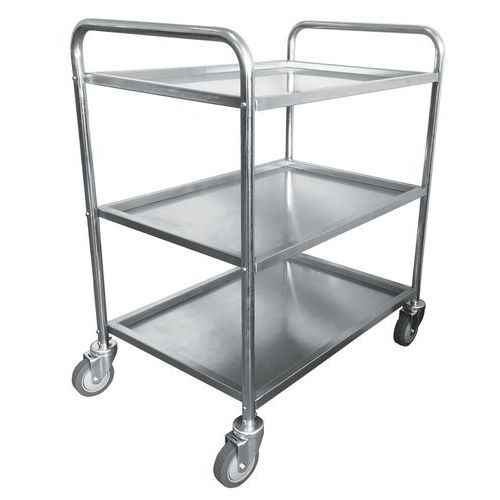 Nerezový policový vozík Manutan se dvěma madly, do 100 kg, 3 pol