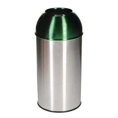 Kovový odpadkový koš Manutan Dome na tříděný odpad, objem 40 l,