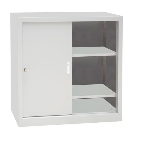 Kovová dílenská skříň Manutan, 100 x 100 x 45 cm, šedá/šedá
