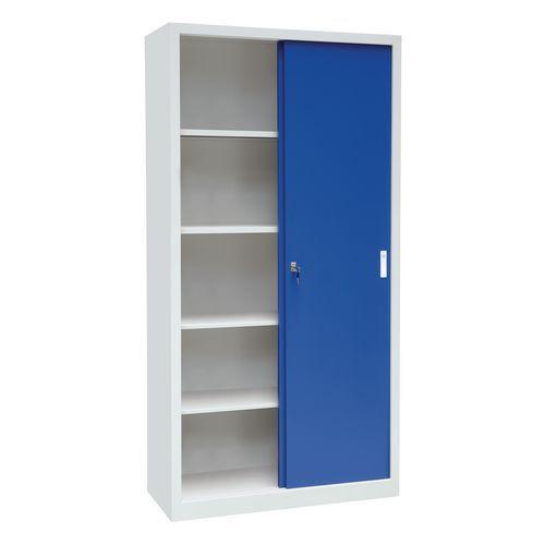 Kovová dílenská skříň Manutan, 200 x 100 x 45 cm, šedá/modrá
