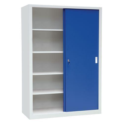 Kovová dílenská skříň Manutan, 200 x 150 x 65 cm, šedá/modrá