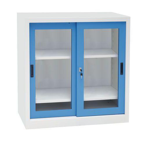 Kovová dílenská skříň Manutan, 100 x 100 x 45 cm, šedá/modrá