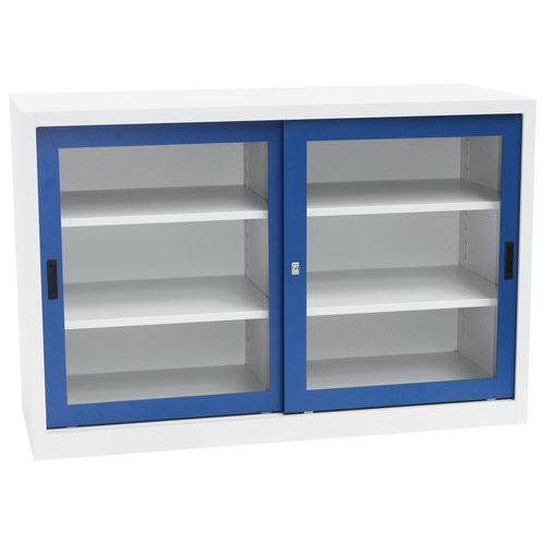 Kovová dílenská skříň Manutan, 100 x 150 x 45 cm, šedá/modrá