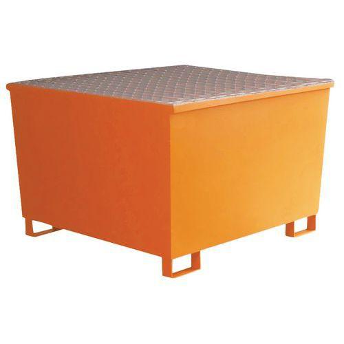 Ocelová záchytná vana Manutan pod IBC kontejner, oranžová - Prodloužená záruka na 10 let