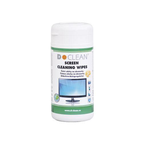 Čisticí navlhčené utěrky D-CLEAN, na monitory dóza, 100 ks
