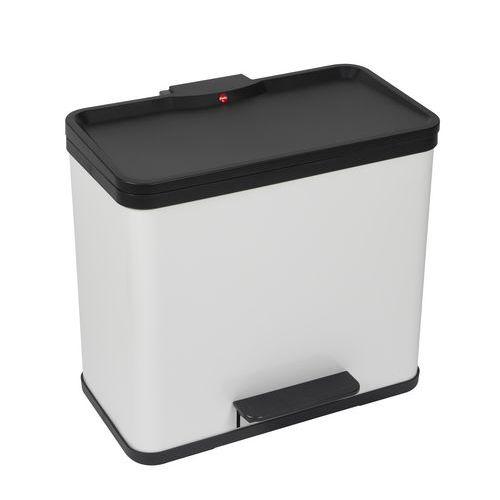 Kovový odpadkový koš Hailo Duo na tříděný odpad, objem 17+ 9 l, bílý - Prodloužená záruka na 10 let