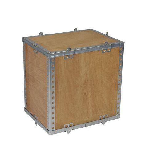 Dřevěný přepravní box s víkem, 40 x 30 x 40 cm