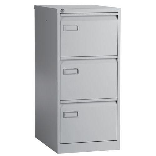 Jednořadá kovová kartotéka A4 Manutan Vasi, 3 zásuvky, šedá