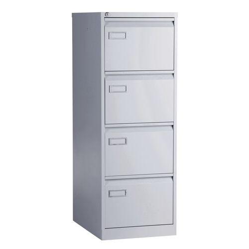 Jednořadá kovová kartotéka A4 Manutan Kuch, 4 zásuvky, šedá - Prodloužená záruka na 10 let