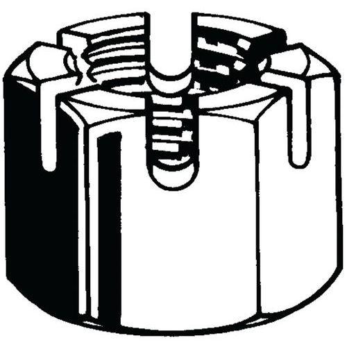 Šestihranná korunková matice s drážkou DIN 935-1 Ocel Pravý Bez