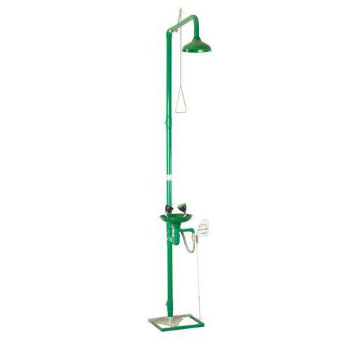Bezpečnostní sprcha s umyvadlem pro výplach očí, zelená
