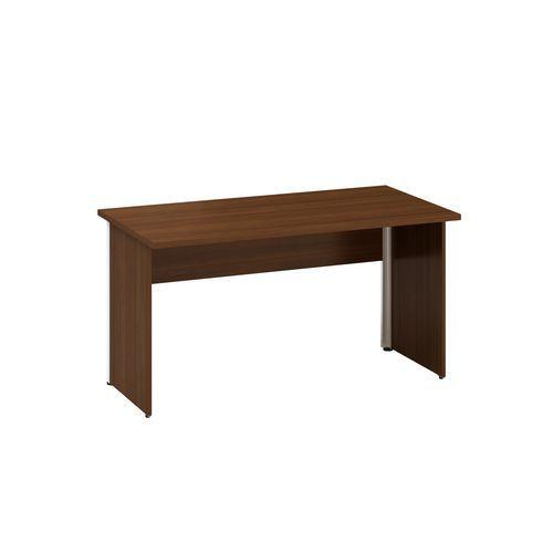 Kancelářský stůl Alfa 100 s šedým podnožím, 140 x 70 x 73,5 cm, rovné provedení, dezén ořech
