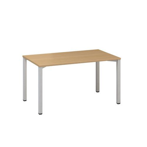 Konferenční stůl Alfa 420 s šedým podnožím, 140 x 80 x 74,2 cm, rovné provedení, dezén buk