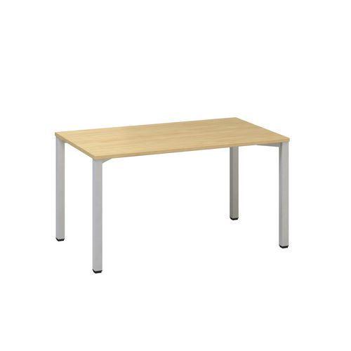 Konferenční stůl Alfa 420 s šedým podnožím, 140 x 80 x 74,2 cm, rovné provedení, dezén div