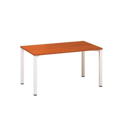 Konferenční stůl Alfa 420 s bílým podnožím, 140 x 80 x 74,2 cm, rovné provedení, dezén třešeň