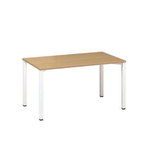 Konferenční stůl Alfa 420 s bílým podnožím, 140 x 80 x 74,2 cm, rovné provedení, dezén buk