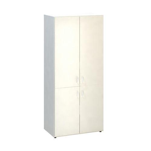 Vysoká široká skříň Alfa 500, 178 x 80 x 47 cm, s dvířky, dezén bílá