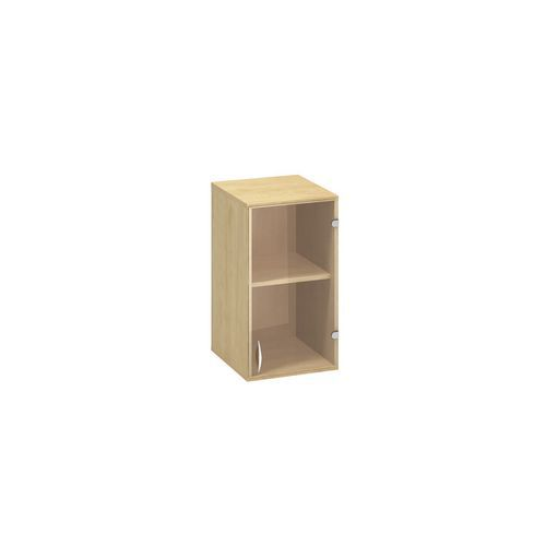 Alfa Office Přístavbová nízká úzká skříň Alfa 500, 71,7 x 40 x 45,8 cm, se skleněnými dvířky - pravé