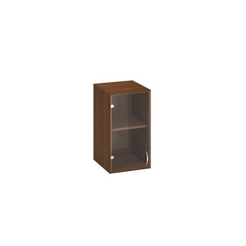 Přístavbová nízká úzká skříň Alfa 500, 71,7 x 40 x 45,8 cm, se skleněnými dvířky - lev