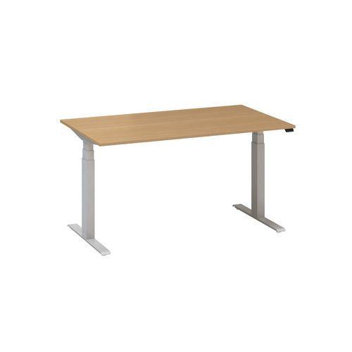 Alfa Office Výškově nastavitelný kancelářský stůl Alfa Up s šedým podnožím, 140 x 80 x 61,5-127,5 cm, dezén divoká hruška - Prodloužená záruka na 10 let