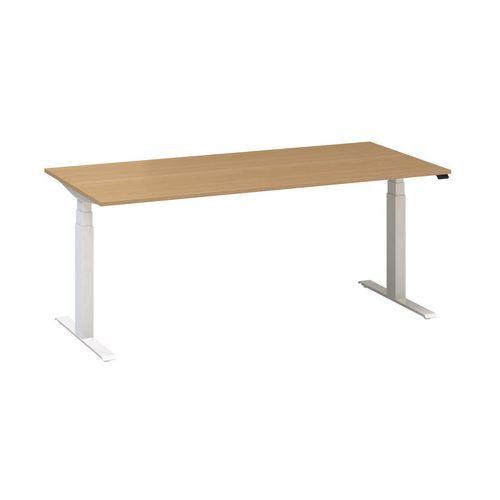 Výškově nastavitelné kancelářské stoly Alfa Up s bílým podnožím, 180 x 80 x 61,5-127,5 cm