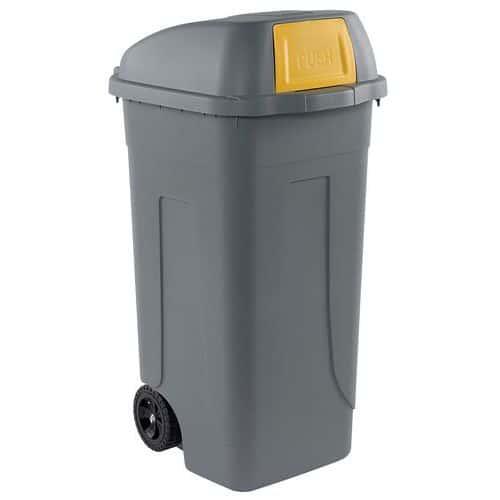 Plastová venkovní popelnice, objem 100 l, šedá/žlutá - Prodloužená záruka na 10 let
