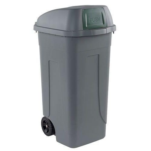 Plastová venkovní popelnice, objem 100 l, šedá/zelená - Prodloužená záruka na 10 let