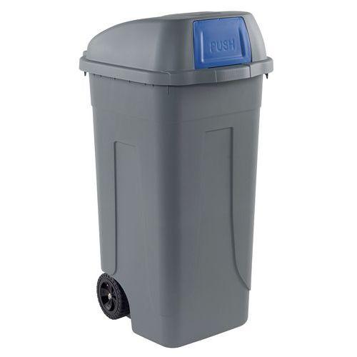 Plastová venkovní popelnice, objem 100 l, šedá/modrá - Prodloužená záruka na 10 let
