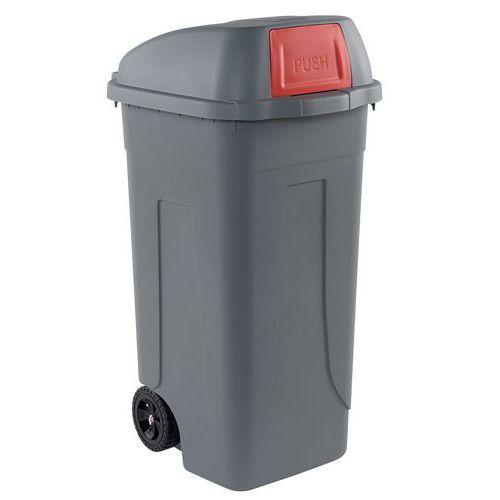 Plastová venkovní popelnice, objem 100 l, šedá/červená - Prodloužená záruka na 10 let