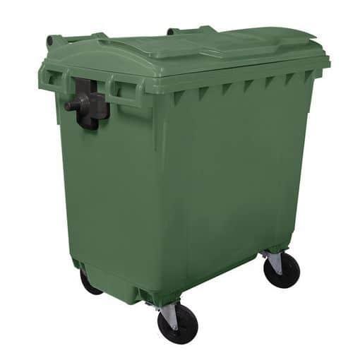 Plastová popelnice Manutan, objem 770 l, zelená