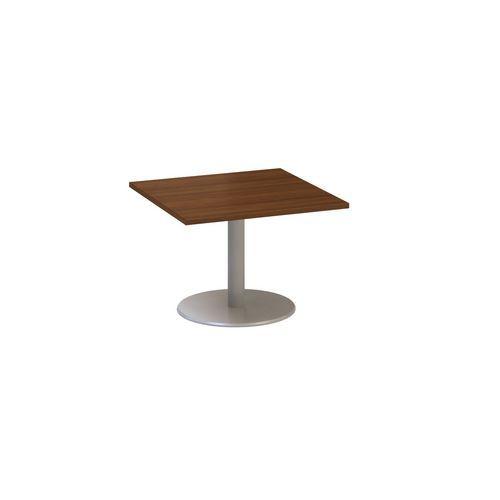 Konferenční stůl Alfa 400 s šedým podnožím, 80 x 80 x 50,7 cm, dezén ořech