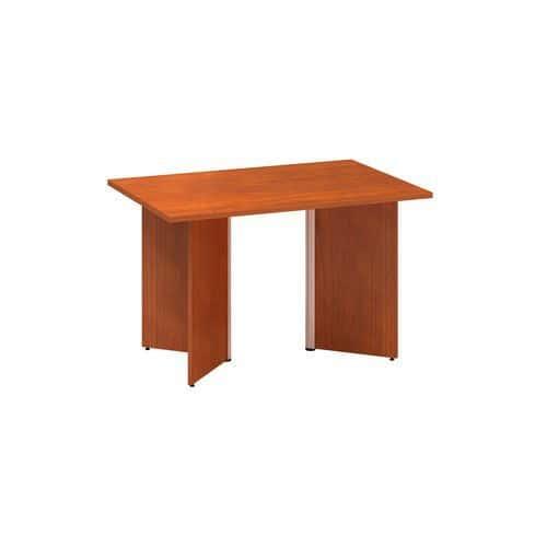 Konferenční stůl Alfa 490 s šedým podnožím, 120 x 80 x 73,5 cm, dezén třešeň