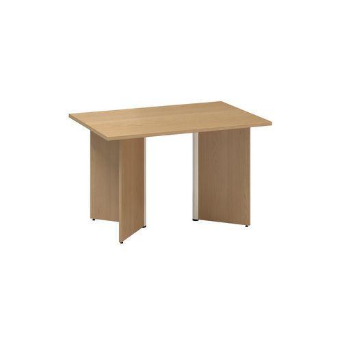 Konferenční stůl Alfa 490 s šedým podnožím, 120 x 80 x 73,5 cm, dezén buk