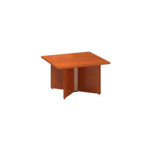 Konferenční stůl Alfa 490 s šedým podnožím, 80 x 80 x 50,7 cm, dezén třešeň