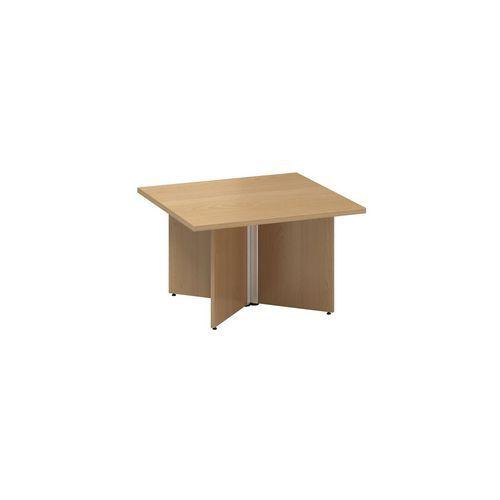 Konferenční stůl Alfa 490 s šedým podnožím, 80 x 80 x 50,7 cm, dezén buk
