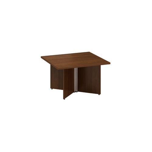 Konferenční stůl Alfa 490 s šedým podnožím, 80 x 80 x 50,7 cm, dezén ořech