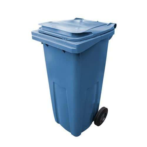 Plastová venkovní popelnice na tříděný odpad, objem 120 l, modrá
