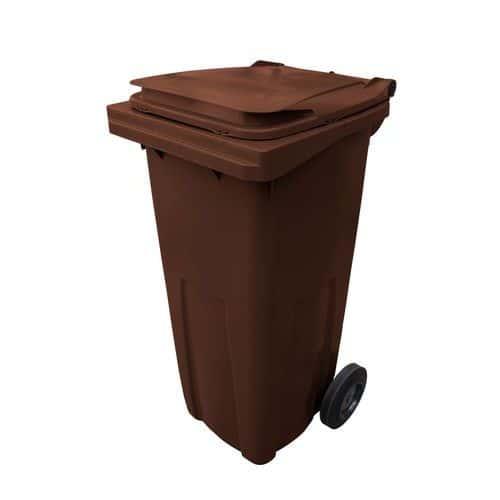 Plastová venkovní popelnice na tříděný odpad, objem 120 l, hnědá