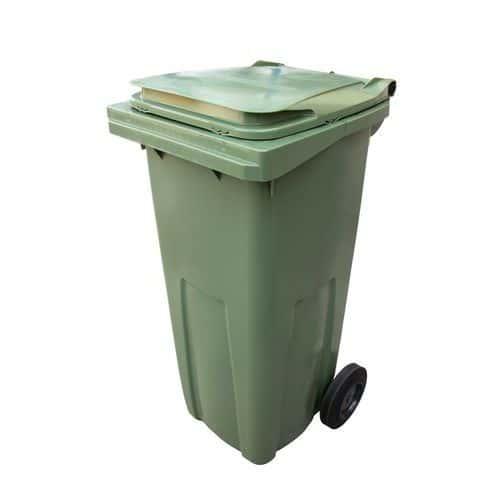 Plastová venkovní popelnice na tříděný odpad, objem 120 l, zelená
