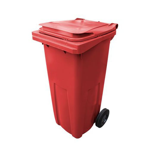 Plastová venkovní popelnice na tříděný odpad, objem 120 l, červená