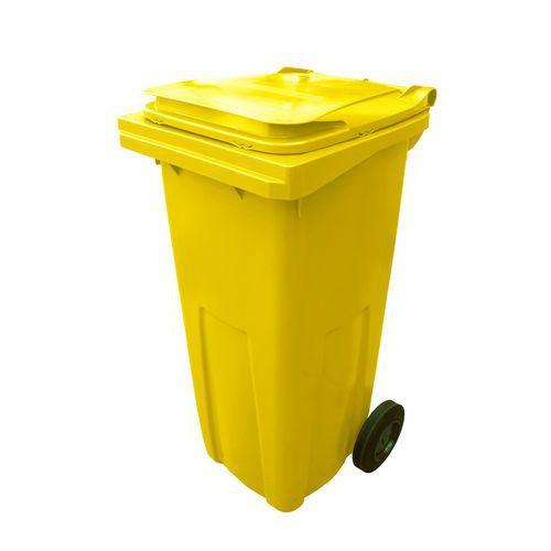 Plastová venkovní popelnice na tříděný odpad, objem 120 l, žlutá