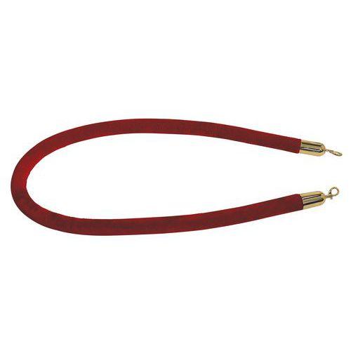 Sametové lano se stříbrnou koncovkou Manutan, červené