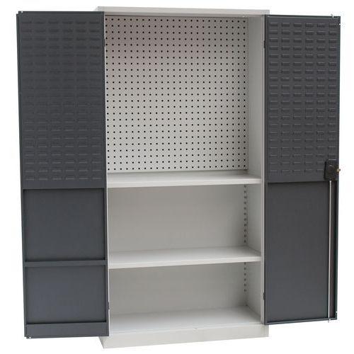 Kovové dílenské skříně Manutan, 195 x 100 x 45 cm, Celková výška: 195 cm, Celková šířka: 100 cm, Počet polic: 2, Celková hloubka: 45 cm, Barva dveří: - Prodloužená záruka na 10 let