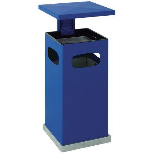 Kovový venkovní odpadkový koš Admiral s popelníkem, objem 70 l, modrý