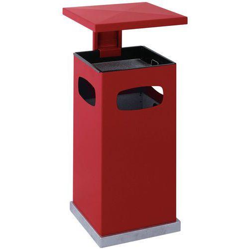 Kovový venkovní odpadkový koš Admiral s popelníkem, objem 70 l, červený