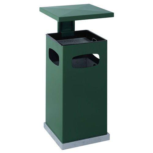 Kovový venkovní odpadkový koš Admiral s popelníkem, objem 70 l, zelený