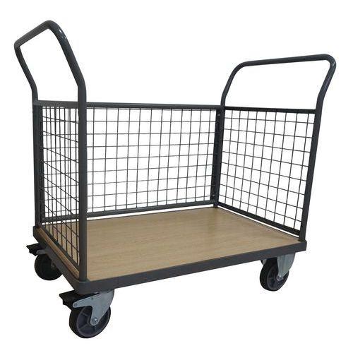 Plošinový vozík Manutan se dvěma madly s mřížovou výplní a boční stěnou, do 500 kg, 99 x 114,5 x 61,3 cm - Prodloužená záruka na 10 let