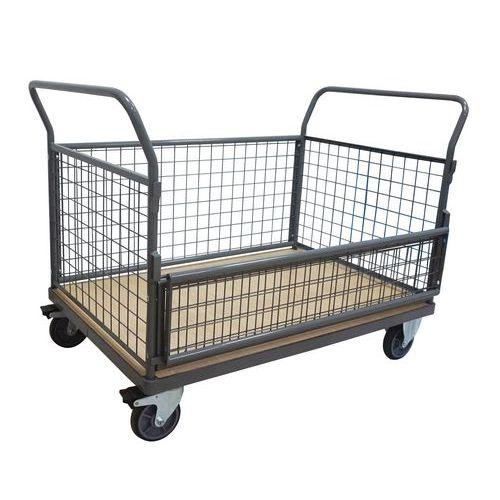 Plošinový vozík Manutan P800 se dvěma madly s mřížovou výplní a
