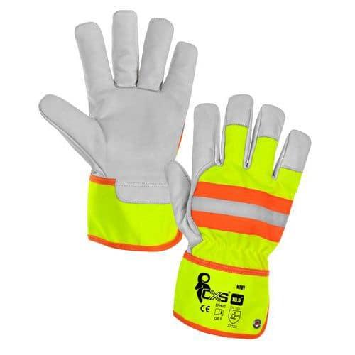 Kožené rukavice CXS Hivi s reflexními prvky, žluté/oranžové